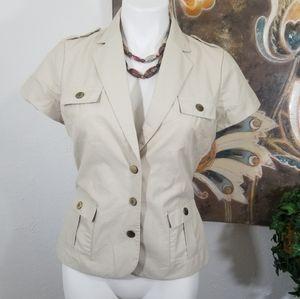 H&M Short Sleeve Tan Beige Safari Blazer Sz8 EUR38